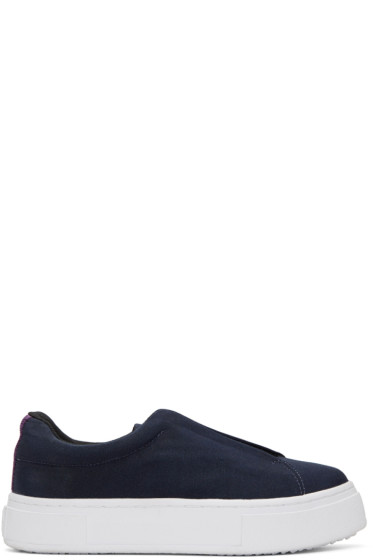 Eytys - Navy Canvas Doja Slip-On Sneakers