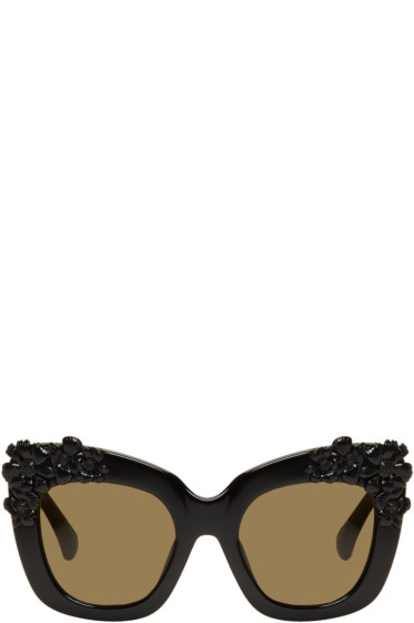 Erdem - Black Linda Farrow Edition Cat-Eye Flower Sunglasses