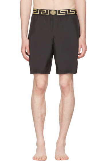Versace Underwear - Black Medusa & Greek Key Swim Shorts
