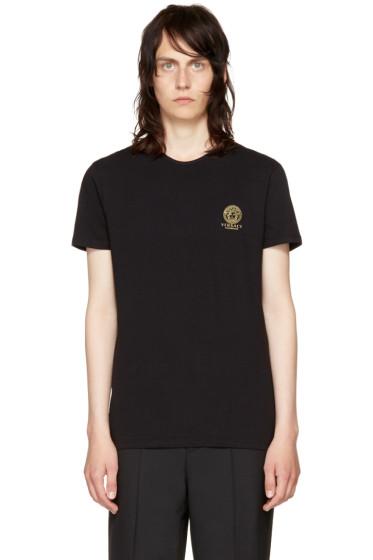 Versace Underwear - ブラック スモール メドゥーサ ロゴ T シャツ