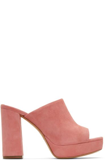 Mansur Gavriel - Pink Suede Platform Mules