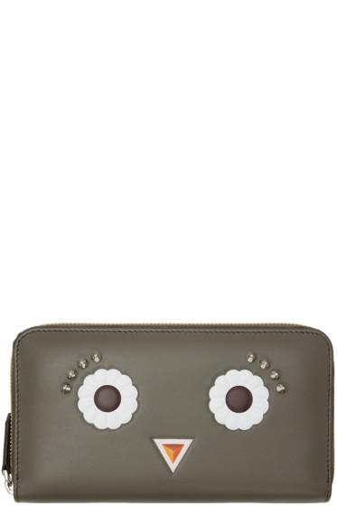 Fendi - Grey Flower Eyes 2Jours Zip Wallet