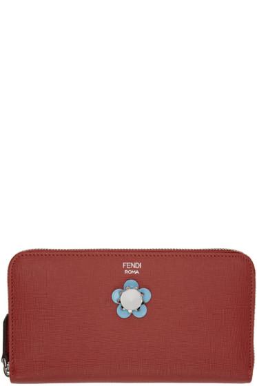 Fendi - Red Flowerland Zip Around Wallet