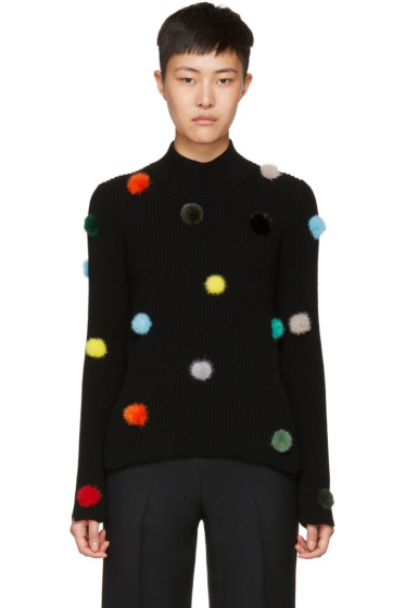 Fendi - Black Cashmere Pompom Turtleneck