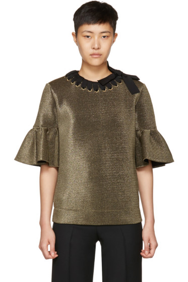 Fendi - Gold Scuba Lurex Ruffle Blouse