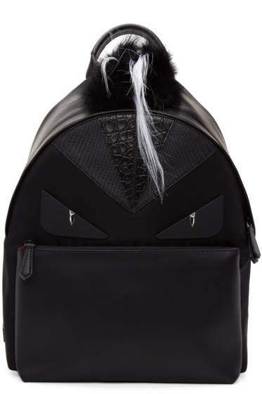 Fendi - Black Snakeskin 'Bag Bugs' Backpack