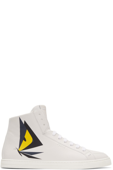 Fendi - White Butterfleyes High-Top Sneakers