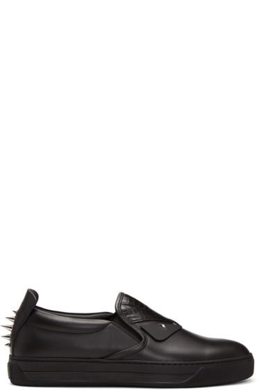 Fendi - Black Snakeskin 'Bag Bugs' Slip-On Sneakers