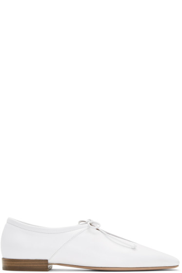 Rosetta Getty - White Lace-Up Flats