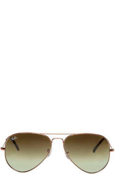 Ray-Ban - Bronze & Green Gradient Aviator Sunglasses