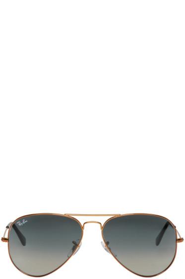 Ray-Ban - Bronze & Grey Gradient Aviator Sunglasses