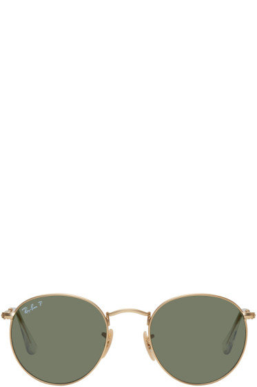 Ray-Ban - Gold & Green Round Metal Sunglasses
