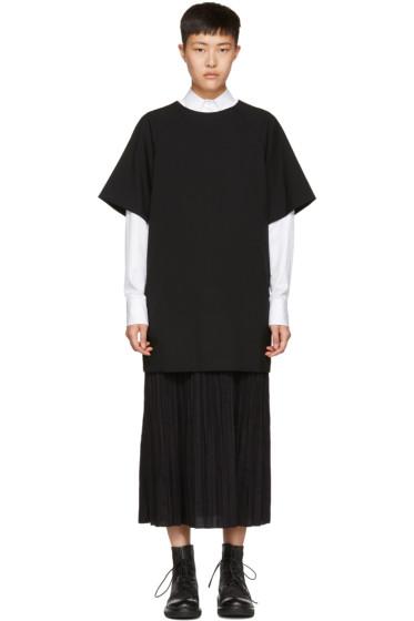 Y's - Black Long K-Bottom Pleats Dress
