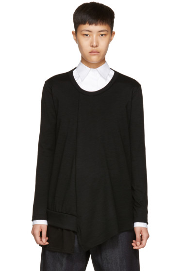 Y's - Black Long Sleeve Ruffle T-Shirt