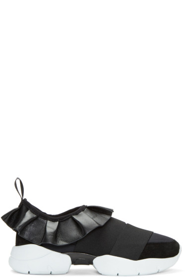 Emilio Pucci - Black Ruffle Slip-On Sneakers