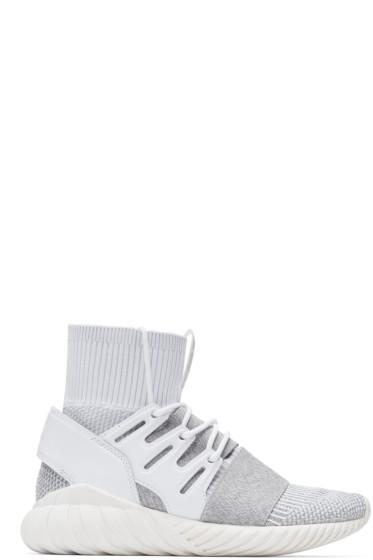 adidas Originals - White & Grey Tubular Doom PK Sneakers