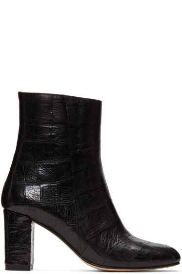 Maryam Nassir Zadeh - Black Croc-Embossed Agnes Boots