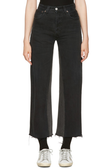 Re/Done - Black High-Rise Wide-Leg Crop Jeans