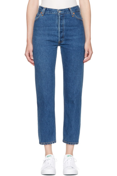 Re/Done - Indigo High-Rise Straight Crop Jeans