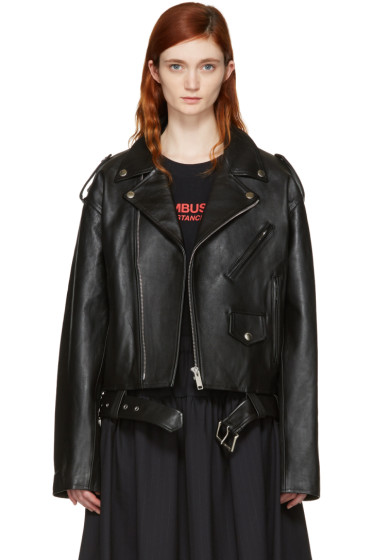 Ambush - Black Leather Cropped Biker Jacket