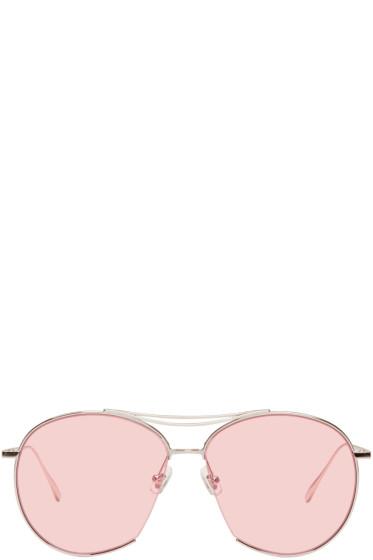 Gentle Monster - Silver & Pink Jumping Jack Aviator Sunglasses