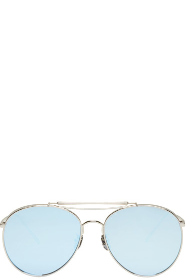 Gentle Monster - Silver & Blue Big Bully Aviator Sunglasses