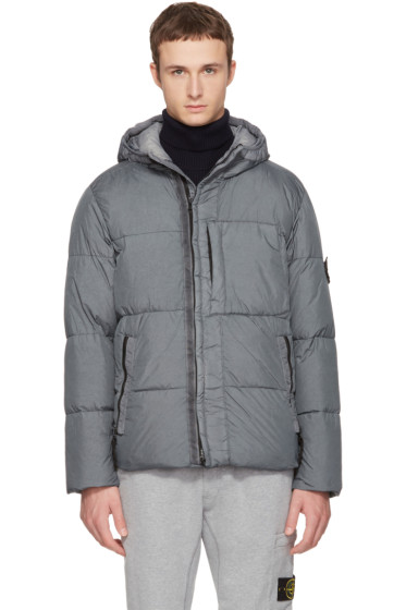 Stone Island - Grey Hooded Down Jacket