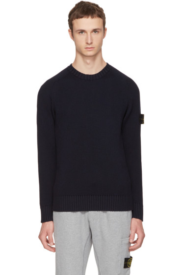 Stone Island - Navy Rib Knit Logo Sweater