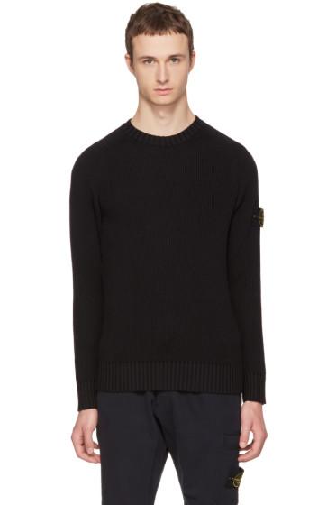 Black Rib Knit Logo Sweater Stone Island