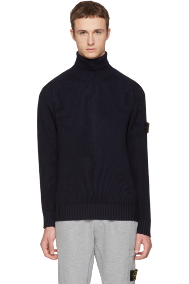 Stone Island - Navy Logo Turtleneck