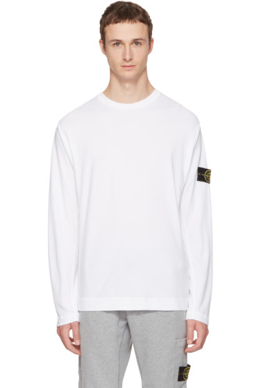 Stone Island - White Long Sleeve Logo T-Shirt