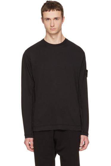 Black Long Sleeve Logo T-Shirt Stone Island