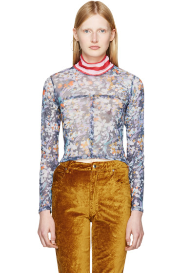 Eckhaus Latta - Multicolor Floral Mesh Lapped Baby Turtleneck