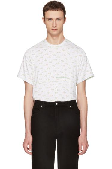 Eckhaus Latta - White Floral Lapped T-Shirt