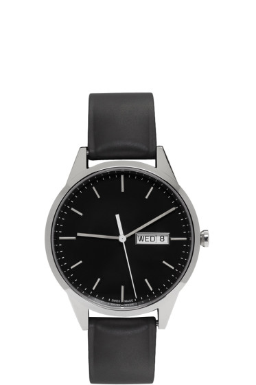 Uniform Wares - Silver & Black Rubber C40 Calendar Watch