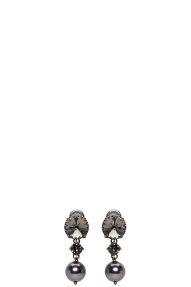 Miu Miu - Gunmetal Pearl & Crystal Earrings