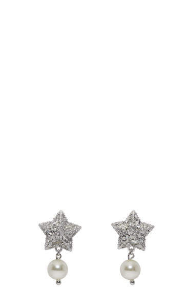 Miu Miu - Silver Crystal & Pearl Star Earrings