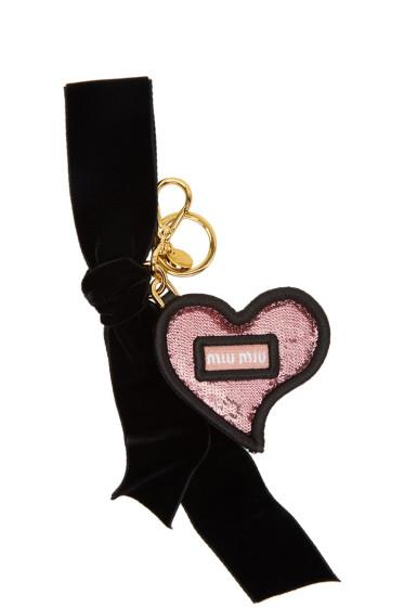 Miu Miu - Pink & Black Heart & Bow Keychain