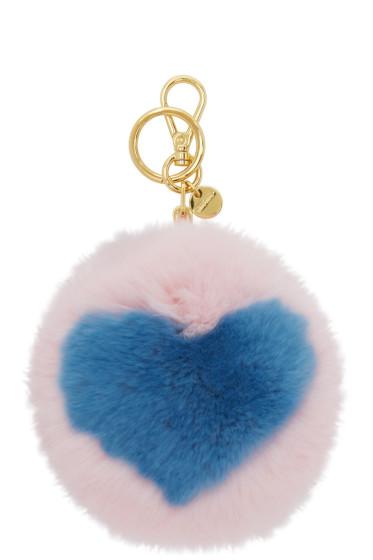 Miu Miu - Pink Fur Heart Keychain