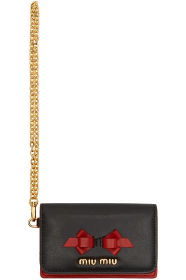 Miu Miu - Black & Red Split Bow Flap Cardholder