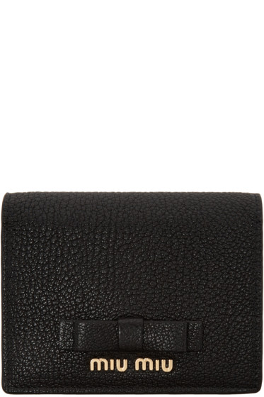 Miu Miu - Black Leather Bow Wallet
