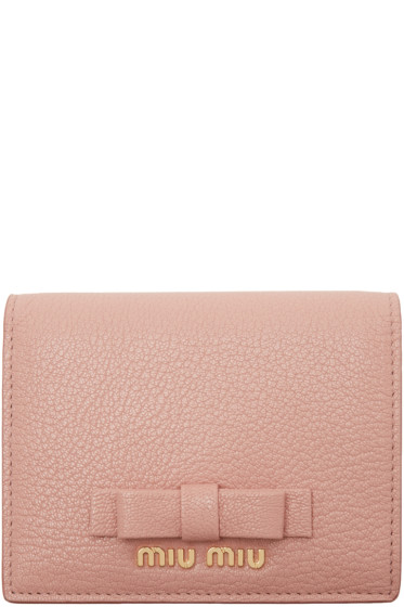 Miu Miu - Pink Leather Bow Wallet