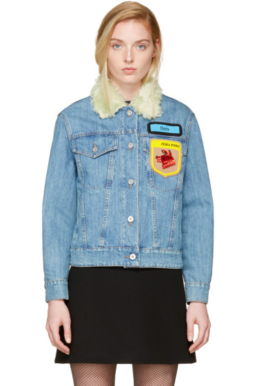 Miu Miu - Blue Denim Fox & Bob Jacket
