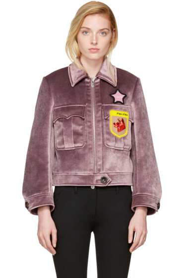 Miu Miu - Purple Velvet Fox & Jack Jacket