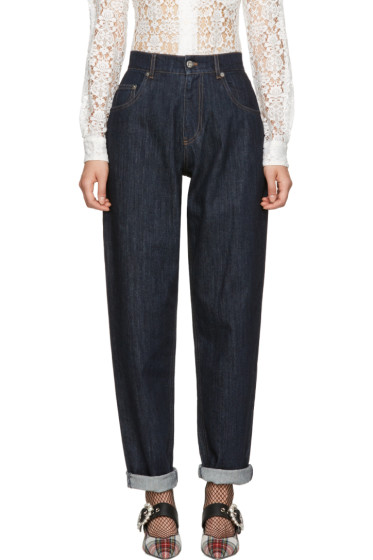 Miu Miu - Navy Denim Patch Jeans