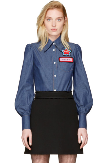 Miu Miu - Blue Chambray Patches Shirt