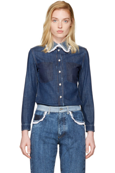 Miu Miu - Indigo Denim Lace Collar Shirt