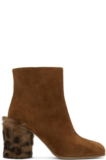 Miu Miu - Tan Leopard Fur Heel Boots