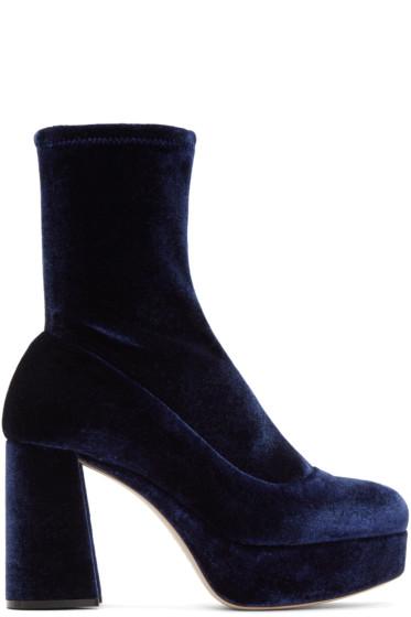 Miu Miu - Navy Velvet Platform Sock Boots