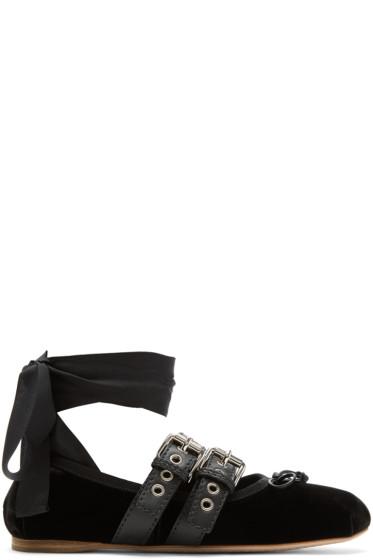 Miu Miu - Black Velvet Ballerina Flats